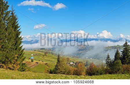 Beautiful Country Morning In Carpathian Mountains