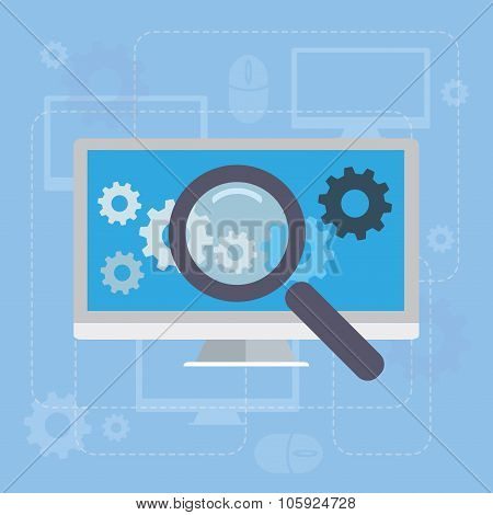 Magnifying glass search network concept illustration