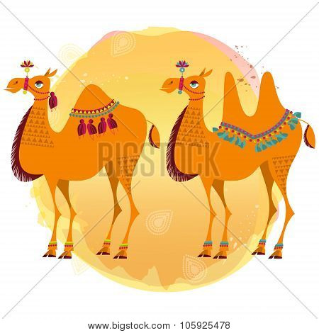Two Camels With Traditional Decoration.