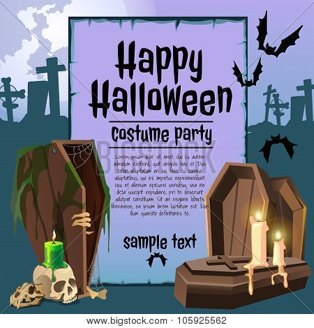 The coffin in an graveyard, card with sample text