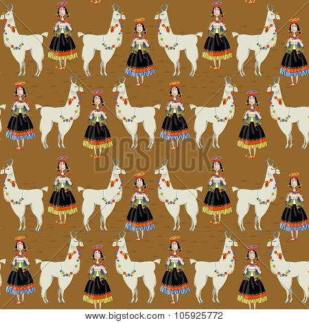 Lama Alpaca And Knitting Peruvian Woman. Seamless Background Pattern.