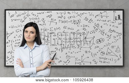 A Beautiful Brunette Is Pondering About The Solution Of Complicated Analytical Problem. Math Formula