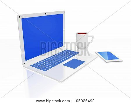 Laptop Coffee Mug And Smart Phone Isolated On White