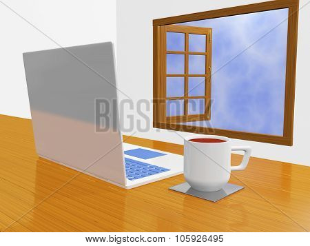 Laptop Coffee Mug In Front Of Open Window