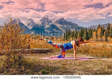 Practicing Yoga in Fall