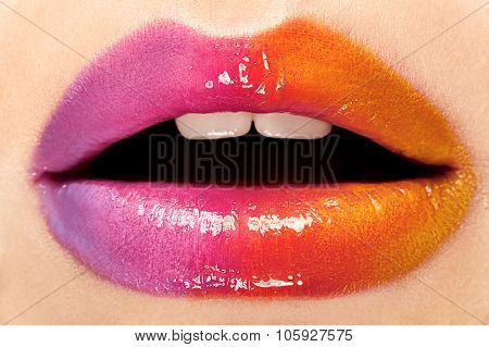 The lips with bright makeup. Closeup.