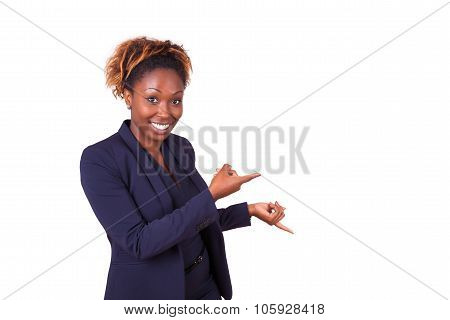 African American Business Woman Pointing Something