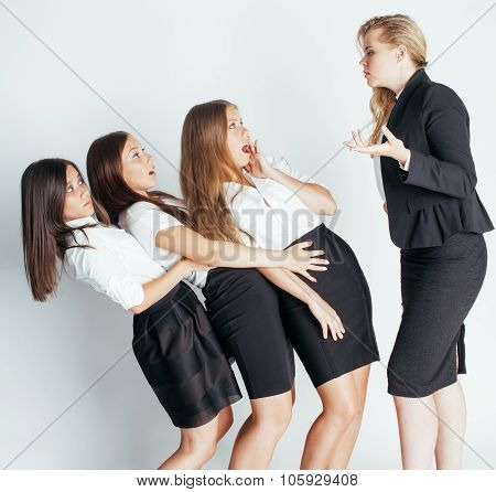 scary lady boss yelling on managers, white background, emotional pressure