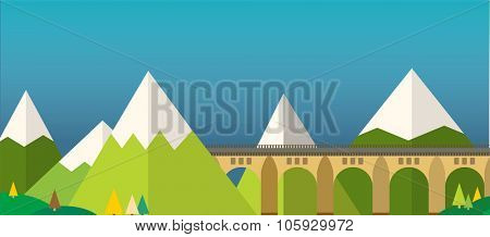 Mountain bridge landscape vector. Bridge outdoor illustration. Vector bridge silhouette, mountain nature. Travel background illustration.