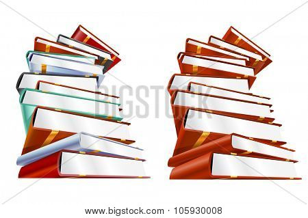Book 3d vector illustration isolated on white. School books. Education, university, college symbols of knowledge, books stack, publish books, pages. Books stack. Books isolated. Books vector
