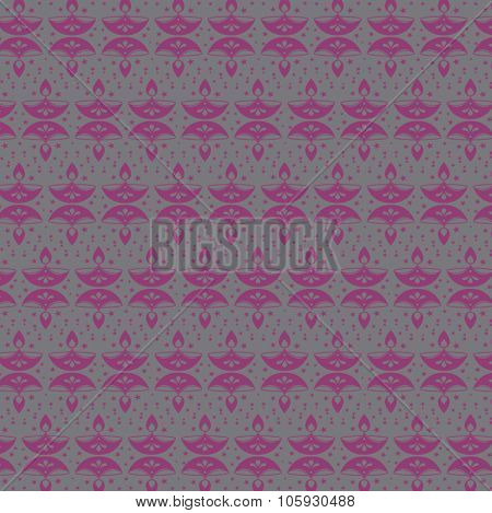 Repetitive vector pattern made with Diwali lamp motif. Vector design.
