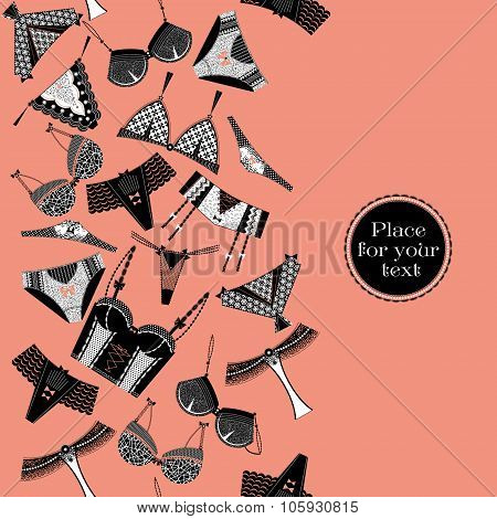 Retro Poster With A Woman Lingerie.  Seamless Background Pattern.