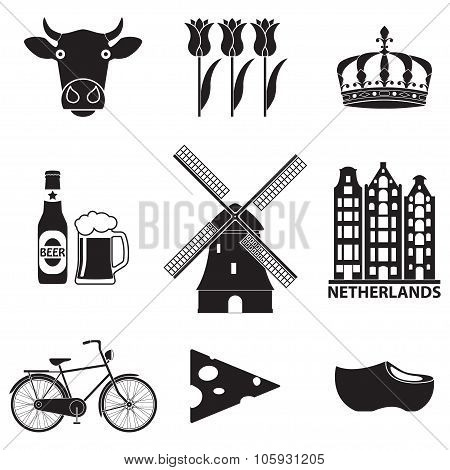 Netherlands icon set isolated on white background. Holland and Amsterdam symbols: wind mill, tulips,