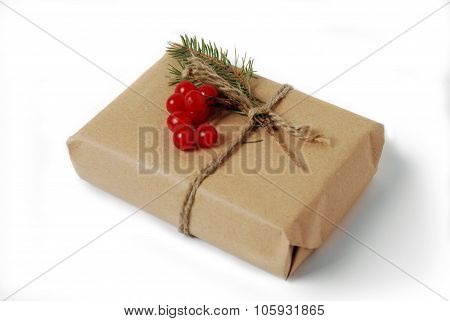 Photo of craft gift box. Christmas, New Year holiday background