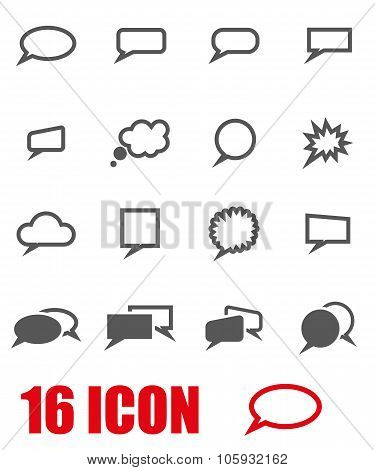 Vector Grey Speach Bubbles Icon Set