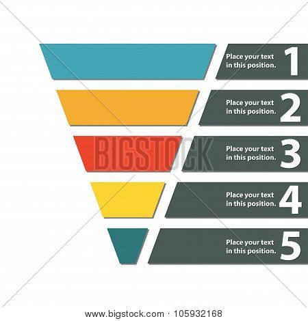 Funnel symbol. Infographic or web design element. Template for marketing, conversion or sales. Color