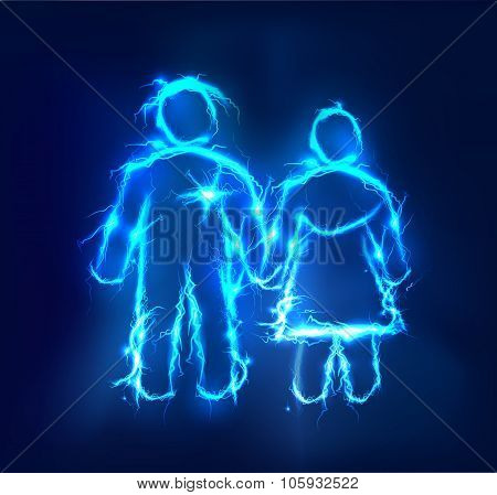 Man and woman, Abstract background made of electric lighting, thunder storm effect.