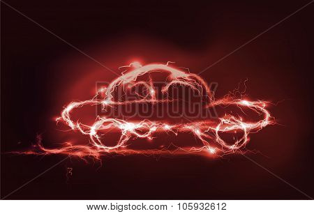 Car, Abstract background made of electric lighting, thunder storm effect.