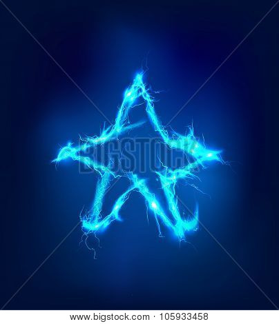 Star, Abstract background made of electric lighting, thunder storm effect.