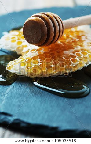 Honey And Honeycell On The Table