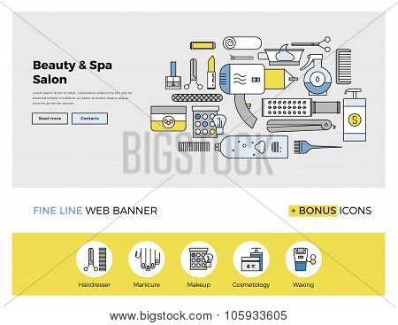 Beauty And Spa Flat Line Banner