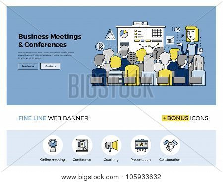 Business Conference Flat Line Banner