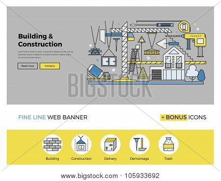 Construction Building Flat Line Banner