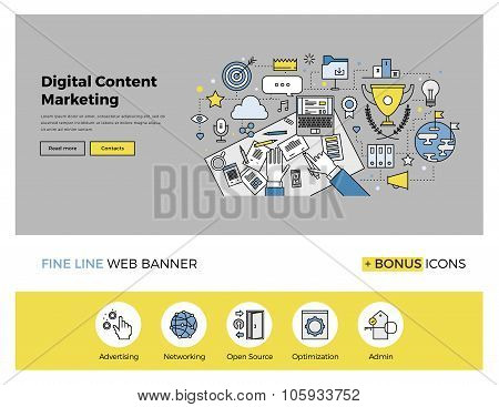 Content Marketing Flat Line Banner
