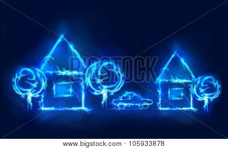 Houses and trees, Abstract background made of electric lighting, thunder storm effect.