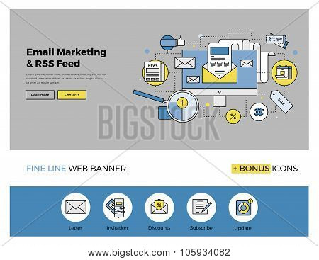 E-mail Marketing Flat Line Banner