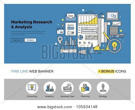 Marketing Research Flat Line Banner