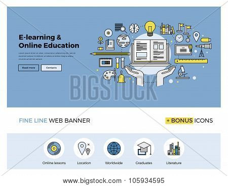 Online Education Flat Line Banner