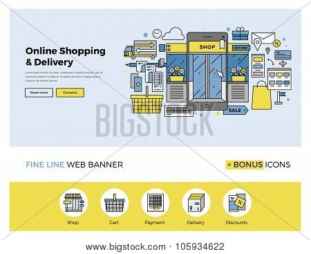 Online Shopping Flat Line Banner