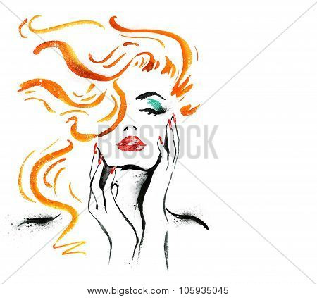 Woman portrait with hand .Abstract watercolor. Fashion illustration. Red lips and nails