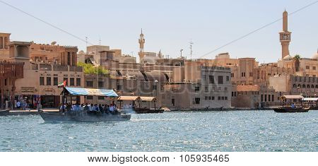 Dubai, United Arab Emirates - October 8, 2014: An Abra Or Water-taxi Carries Passengers Across The C