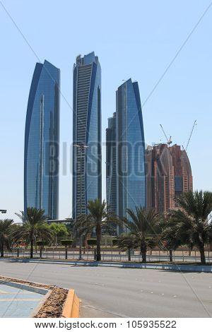 Abu Dhabi, United Arab Emirates - October 10,2015: Etihad Towers of Abu Dhabi in United Arab Emirate