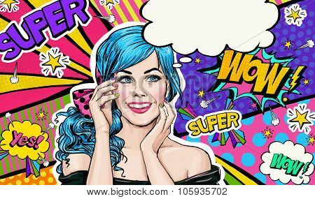 Pop Art illustration of blue head girl on Pop art  background.Pop Art girl. Party invitation.