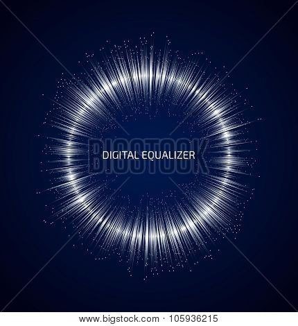 Abstract white round music equalizer