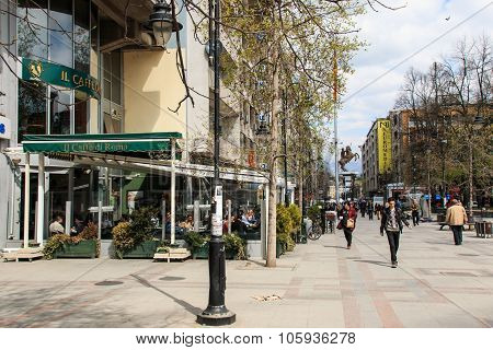 Skopje, Macedonia - April 3 2014:  Skopje main street with many tourists walking by