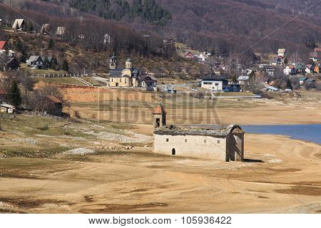 Submerged Church Of Mavrovo Lake, Macedonia