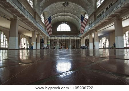 New York, United States - June 5 2012:  Great hall at Ellis Island Immigration Museum