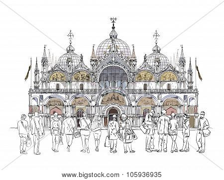 St. Marco, Venice and tourist on the square. Sketch collection