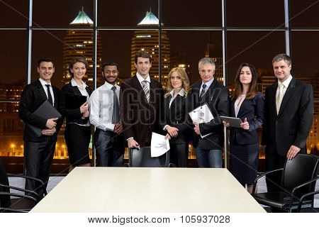 Business people on the background of skyscrapers.