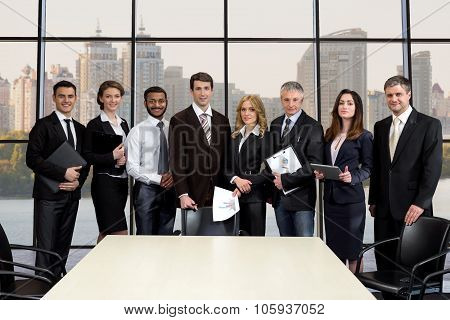 Team of businessmen in the business center.