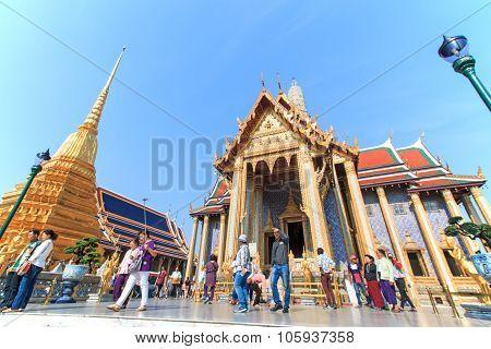 Bangkok, Thailand - April 14,2015: Tourists At The Wat Phra Kaew, Temple Of The Emerald Buddha