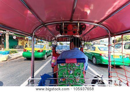 Bangkok, Thailand - April 16,2015: Interior Of A Tuk Tuk, The Most Common Mean Of Transportation In