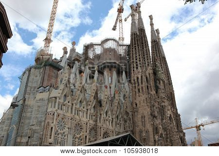 Barcelona Spain - June 9: La Sagrada Familia - The Impressive Cathedral Designed By Gaudi, Which Is