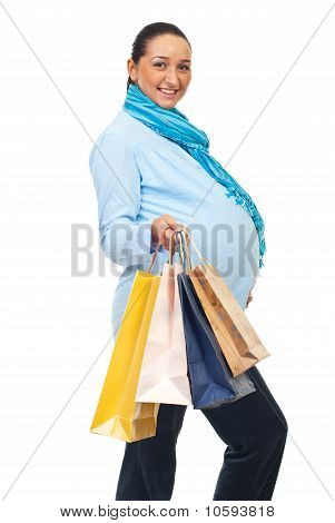 Cheerful Pregnant At Shopping