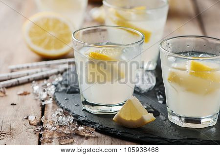 Homemade Lemonade With Lemon And Ice