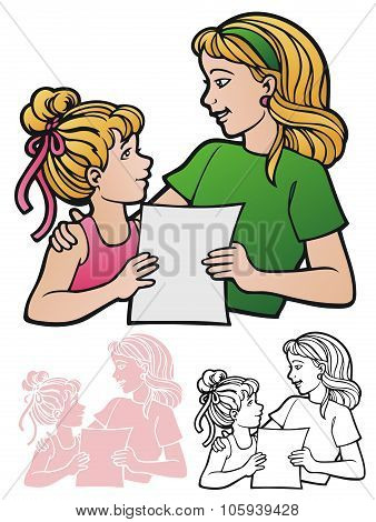Mother And Daughter With Paper